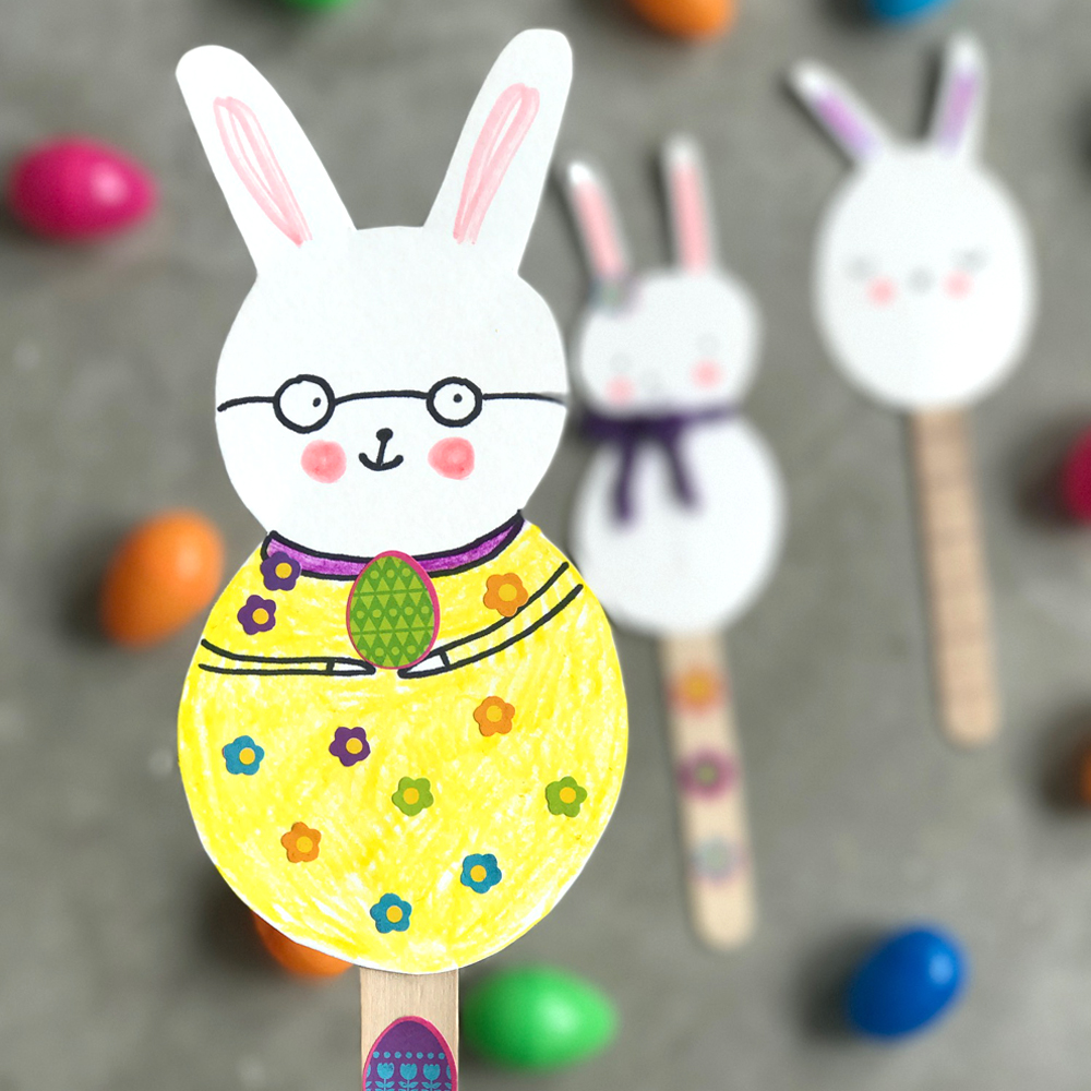 Cute Easter Bunny Puppet Craft