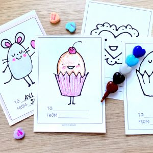 Valentine Cards for Kids Coloring Page Instant Download