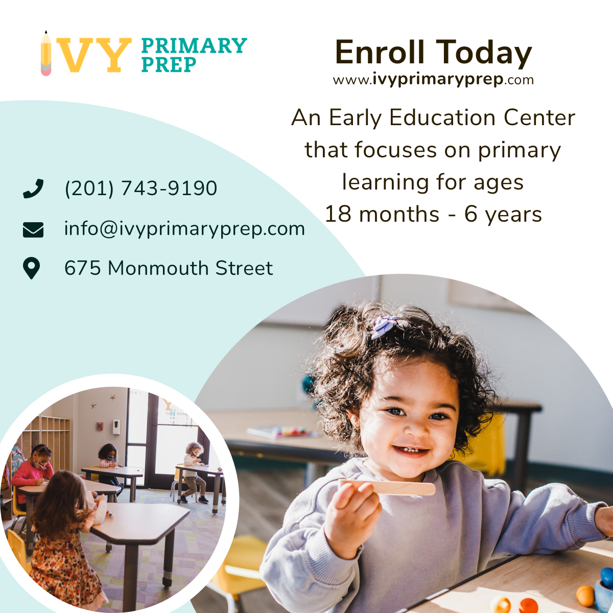 Ivy Primary Prep,        675 Monmouth St, Jersey City, NJ- (201) 743-9190